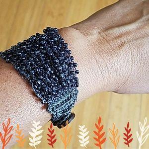 Steel Blue Crocheted Beaded Bracelet NWOT